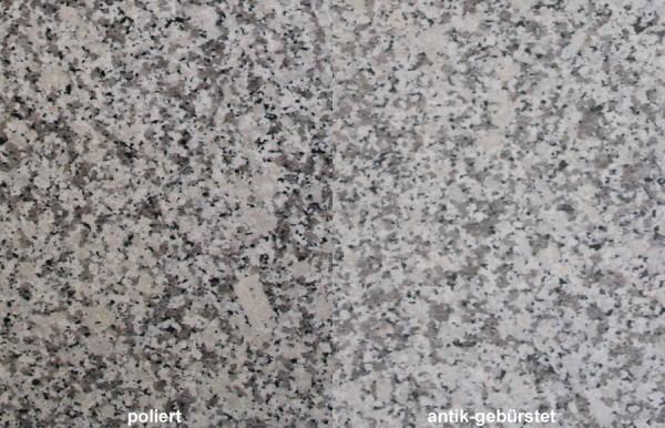 Terrassenplatten Granit Bianco Sardo gebürstet