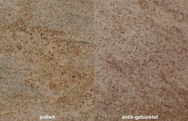 Terrassenplatten Granit Imperial Gold gebürstet