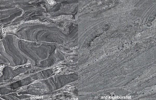 Terrassenplatten Granit Silver Forest gebürstet